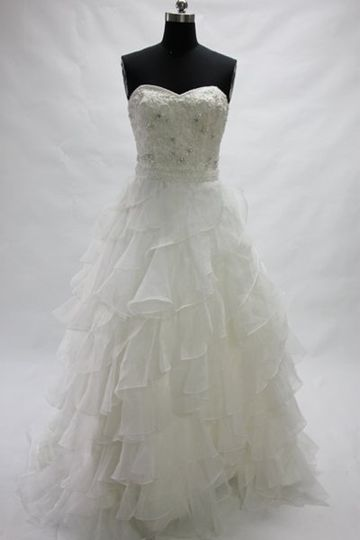 Satin & Organza White Sweetheart Strapless Ball Gown Court Train Wedding Gown Style Code: 07647 $245