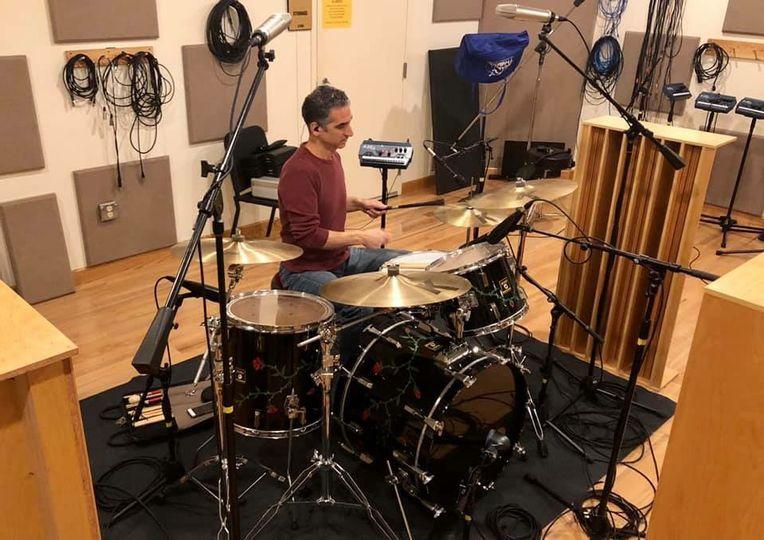 John tracking drums