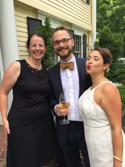 Officiant and the newlyweds
