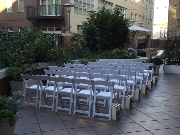 Ceremony set up on garden terrace