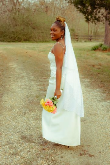 Newlywed holding the bouquet