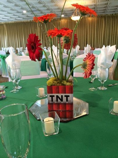 TNT themed centerpiece
