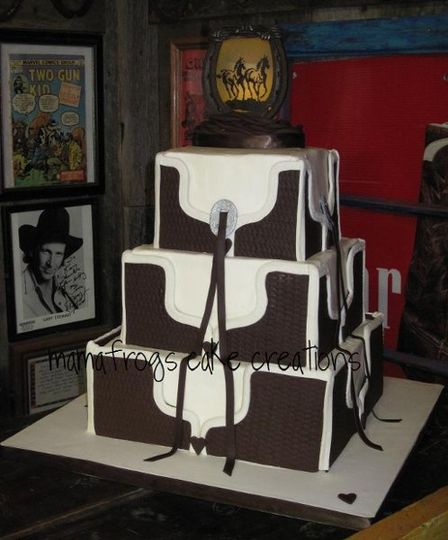 Square buttercream cake, chocolate fondant panels top off this western favorite!