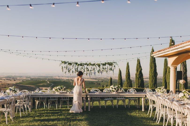 Bride checking reception
