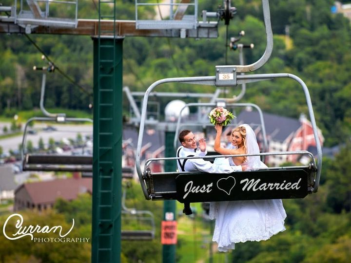 Newlyweds on a cable car