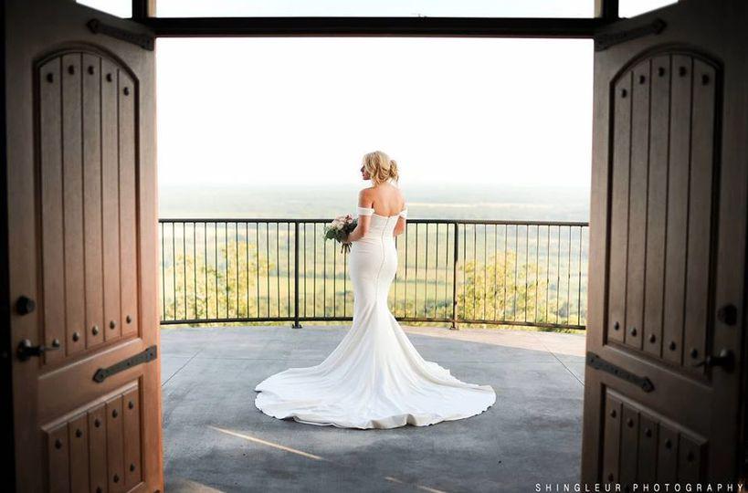 Bride in her wedding dress