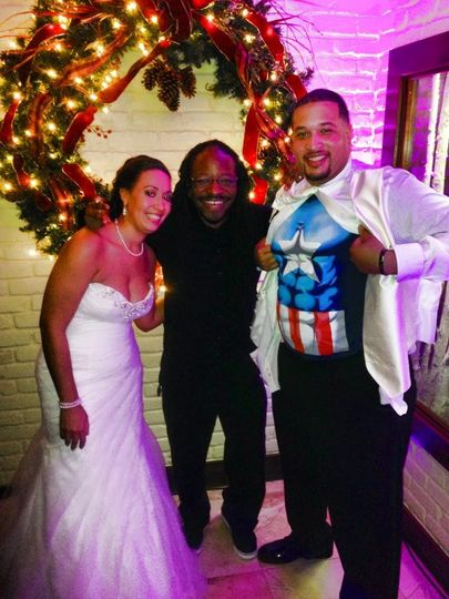 With the bride and Captain America