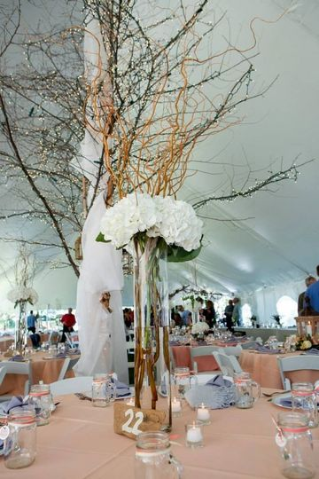 Outdoor wedding tent decor