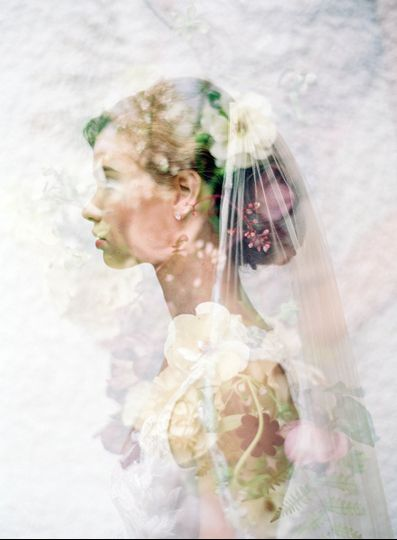 Bridal veil with flowers