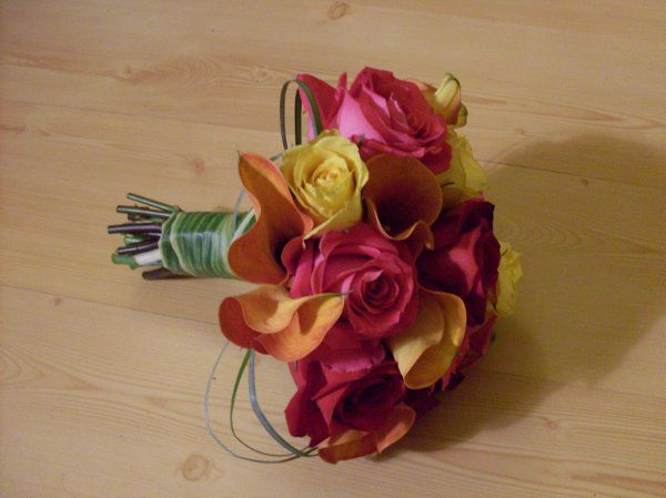 Tropical bouquet. Handle wrapped with a Ti Leaf.