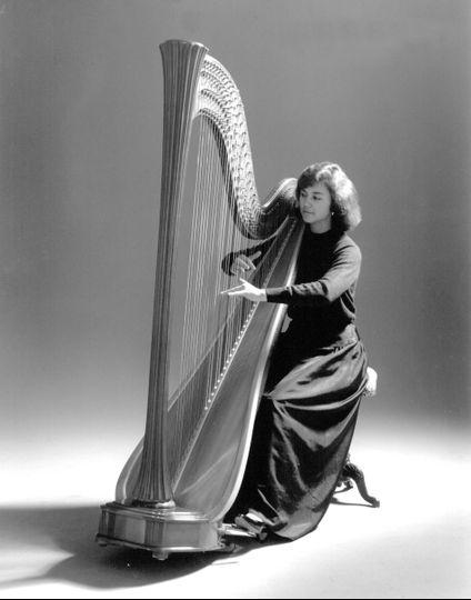 Harpist at the studio