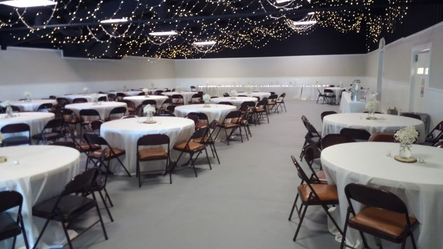 Banquet hall with tables