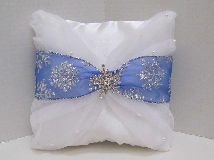 snowflake ring bearer pillow dark blue siler ribb