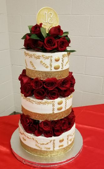 Fresh Roses, Red and Gold