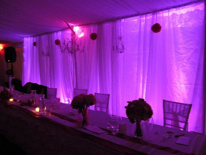 Head table setting with uplighting