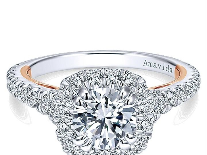Tmx 1475010672364 Gabriel 18k White Pink Gold Diamond Halo Engagemen West Chester wedding jewelry
