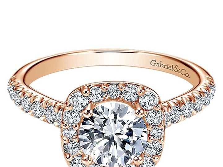 Tmx 1475010679620 Gabriel 14k Pink Gold Diamond Halo Engagement Ring West Chester wedding jewelry