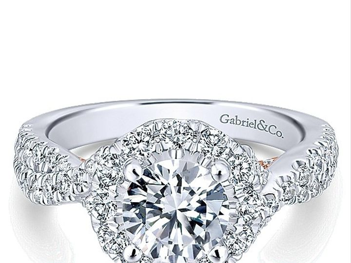 Tmx 1475010701874 Gabriel 14k White Pink Gold Diamond Halo Engagemen West Chester wedding jewelry