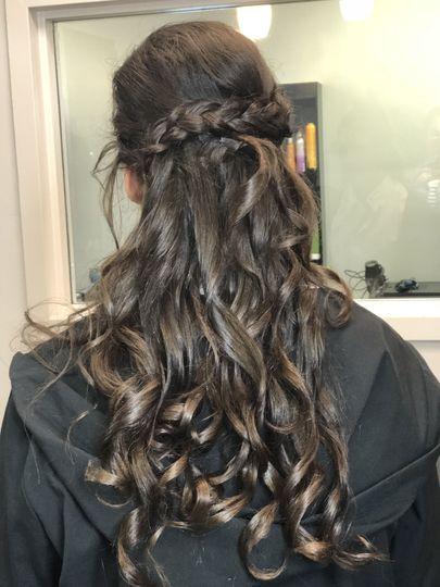 Braided curled hair