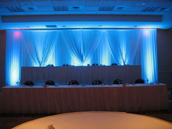 Stately blue head table backdrop