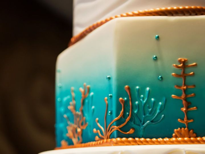 Tmx 1516737575 B22ff4a70a7ea7d1 1516737570 Fd3d38cc56fcc05b 1516737518895 15 Copper And Teal O Saint Petersburg, Florida wedding cake