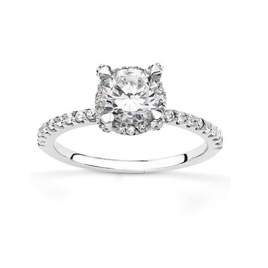 ENR8422This elegant diamond engagement ring set in contemporary shared prong style. This engagement...