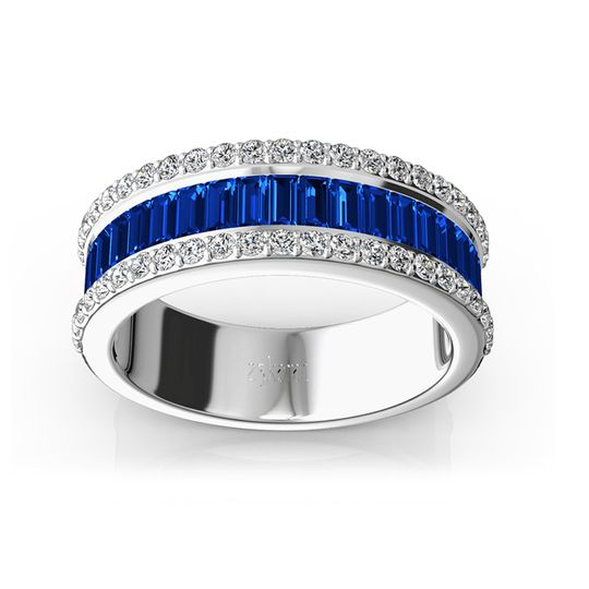 WB9302Faceted baguette cut sapphires are accented with round brilliant diamonds. This solid...