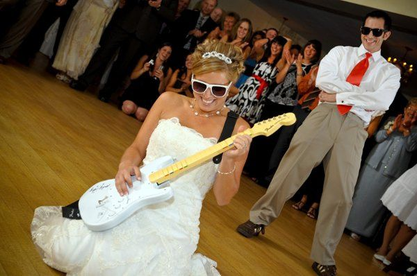 Bride jamming the guitar