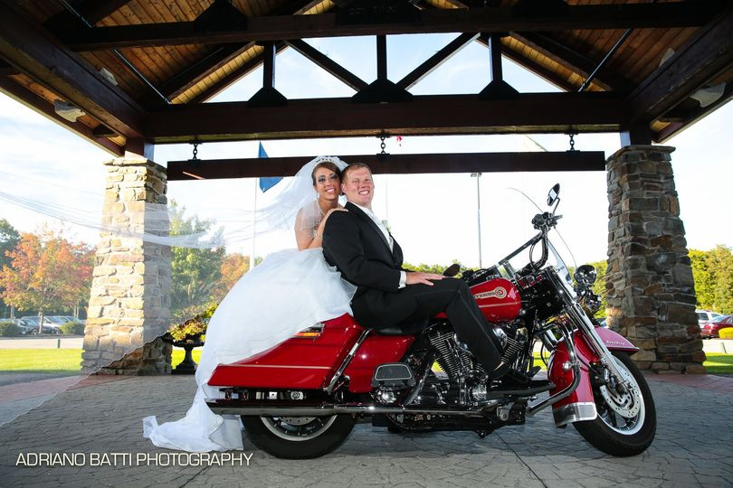Bride and Groom on Motocycle