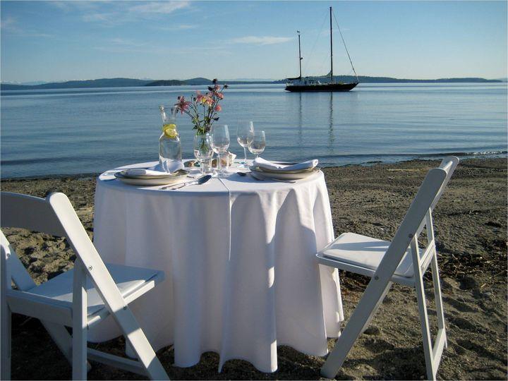Table setup by the beach