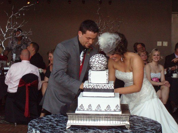 The couple slicing the cake
