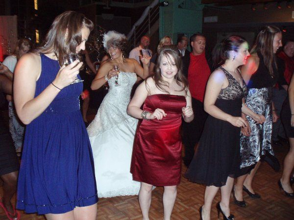 The bride dancing with the guests