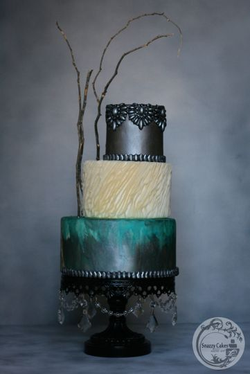buttercream effect silver teal cake
