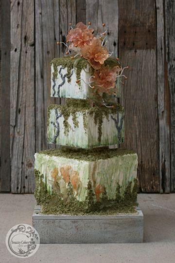 isomalt fantacy flower square moss cake