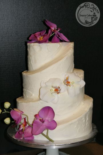 sculpted wedding cake orchids