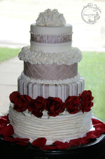 silver white rose wedding cake