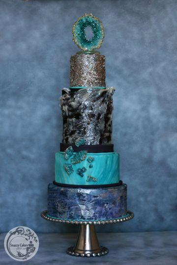 sugar geode blue black silver sequin cake