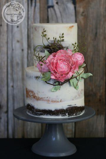 sugar peony rustic naked cake