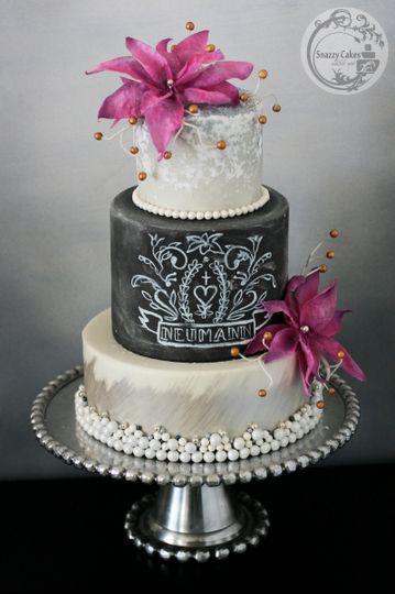 wafer paper flowers silver pink chalkboard cake