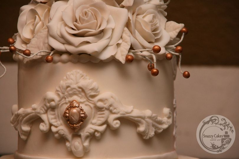 white gold vintage wedding cake