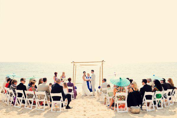 a beautiful day for a modern beach wedding.  chuppah for rent!