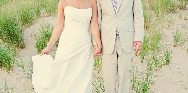 a sweet couple and a modern beach wedding