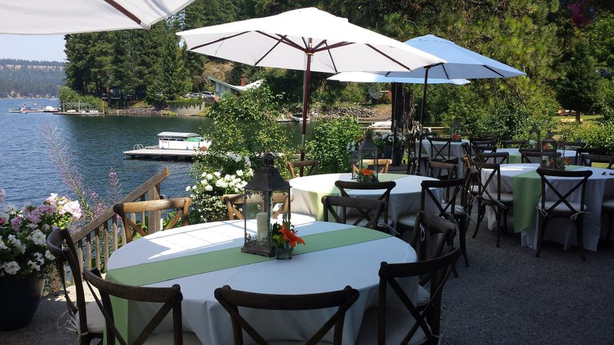 market umbrellas with crossback chairs