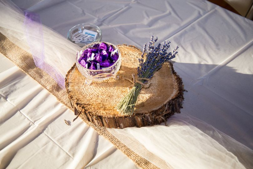 Lavender & wood centerpieces