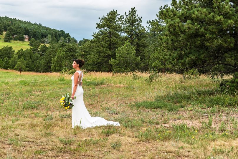 The Bride out in the meadow