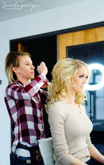 Photos of our hair and makeup artist, Macey, and our model, Nicole.