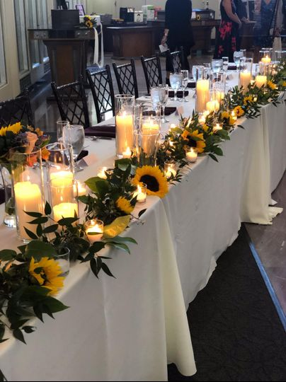 Sunflowers and candles decor