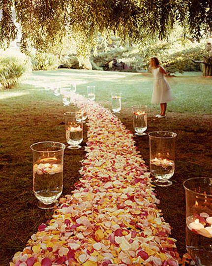 AISLE FLOWERS, PLUMERIA & ORCHID HEADS, ROSE PETALS