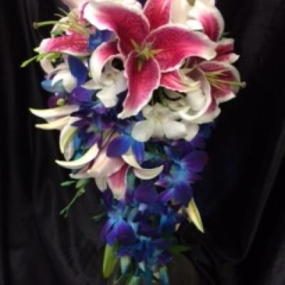 CASCADE BOUQUET- PINK ORIENTAL LILLIES, WHITE DENDROBIUM ORCHIDS, BLUE TINTED SONYA ORCHIDS