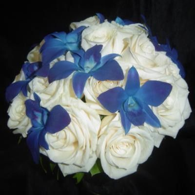 CLUTCH - WHITE ROSES & BLUE TINTED SONYA ORCHIDS